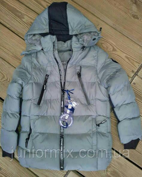 Куртка зимова на хлопчика сіра підліток CCDI