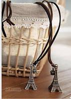 Подвеска Башня на коричневом шнурке