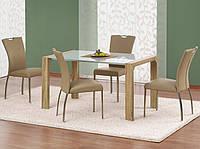 Белый стеклянный стол Halmar Kent с ламинированной опорой цвета дуб сонома