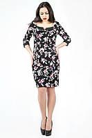 ТМ Ghazel Платье Василиса черное розовый цветок Ghazel