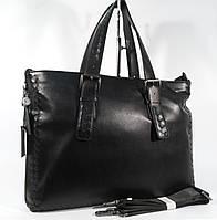 Кожаный мужской портфель, сумка для документов, папка  Bottega Veneta 6129-3, 40*30*9 см с расширением