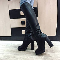 Женские сапоги  ботфорты кожаные