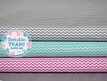 Набор хлопковых тканей 50*50 из 3 штук с мини зигзагом (мятный, серый, розовый), фото 3