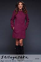 Женское пальто на клепках с карманами марсала