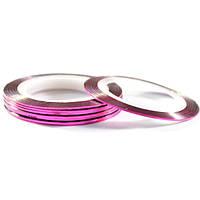 Лента-скотч для декора ногтей, розовая узкая