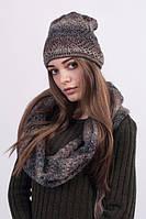 Комплект шапка + снуд коричневый меланж 3024, фото 1