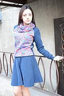 Ariona Свитшот женский синий с принтом Цветное настроение