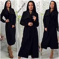 Элегантное удлиненное кашемировое пальто на поясе с карманами, черное