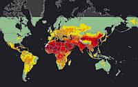 ВОЗ выпустила новую карту качества воздуха в разных странах мира.