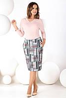 Женская трикотажная юбка-карандаш с рисунком кубики. Модель Malaga Top-Bis.