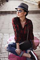 ТМ Ghazel Рубашка женская Миндаль красная клетка Ghazel