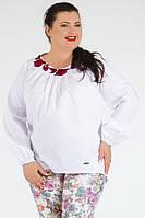 ТМ Ghazel Блуза Вышиванка белая бордовый цветок Ghazel