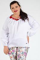 ТМ Ghazel Блуза Вышиванка белая красный цветок Ghazel
