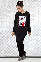ТМ Ghazel Спортивный костюм женский Спорт черный Ghazel