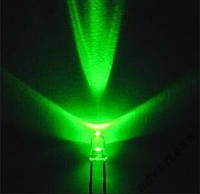 Светодиод 3 мм зелёного свечения LED