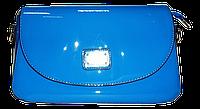 Стильная женская лаковая сумка из искусственной кожи D&K синяя, фото 1