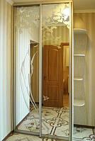 Шкаф-купе бежевый с рисунком на зеркале