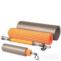 Ролик для йоги 3в1 LiveUp Yoga Roller Set, оранжевый