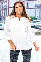 Нарядная блуза из крепдешина. Цвет белый. Большие размеры.