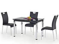 Черный стеклянный стол Halmar L31 с прямоугольной столешницей