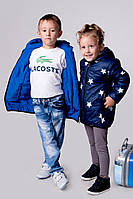 Детская двухсторонняя куртка с одной стороны однотонная плащевка,с другой -плащевка с рисунком