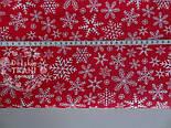 Набор хлопковых тканей 50*50 см из 3 штук: снежинки на зелёном, сером, красном, фото 2