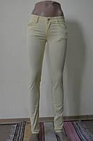 Цветные женские брюки светло-желтый 360-3