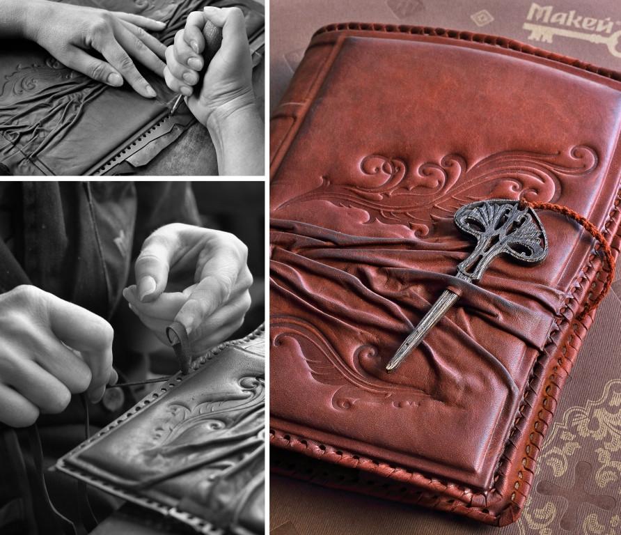 Изготовление Обложки с декоративной гравировкой (натуральная кожа) с ежедневником большим