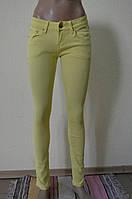 Цветные женские брюки лимонный RE-698-3