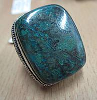 """Серебряный крупный перстень  кольцо """"Бирюза"""" с натуральной хризоколлой , размер 17,8, фото 1"""