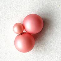 Серьги пуссеты Dior персиковые матовые, серьги двойной шарик