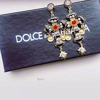 Серьги женские D&G крест черные, сережки женские
