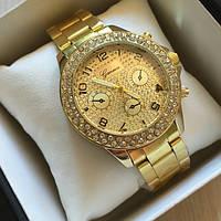 Кварцевые женские часы Geneva GLORY золото в стразах , недорогие часы