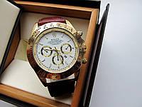 Часы наручные мужские Rolex Daytona коричневые с белым циферблатом, часы физрука