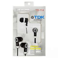 Вакуумные наушники TDK TD-114 Black , гарнитура