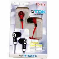 Вакуумные наушники TDK TD-114 Red , гарнитура