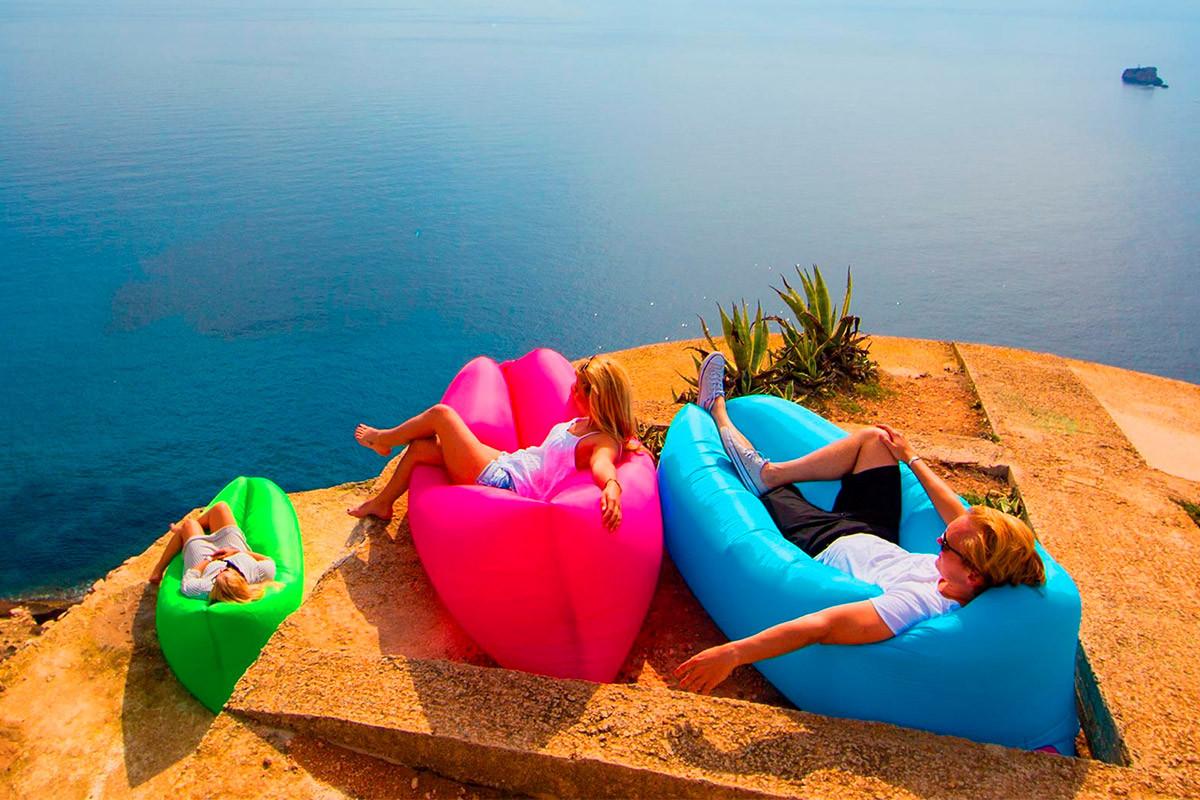 Надувной шезлонг, ламзак, диван-мешок Ламзак Lamzac  Разноцветные  Розпродажа!