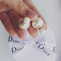Серьги пуссеты Dior жемчуг, серьги двойной шарик
