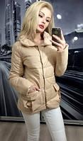 Женская куртка на синтепоне с карманами 3 цвета