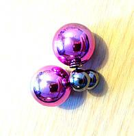 Серьги пуссеты Dior омбре розовые, серьги двойной шарик