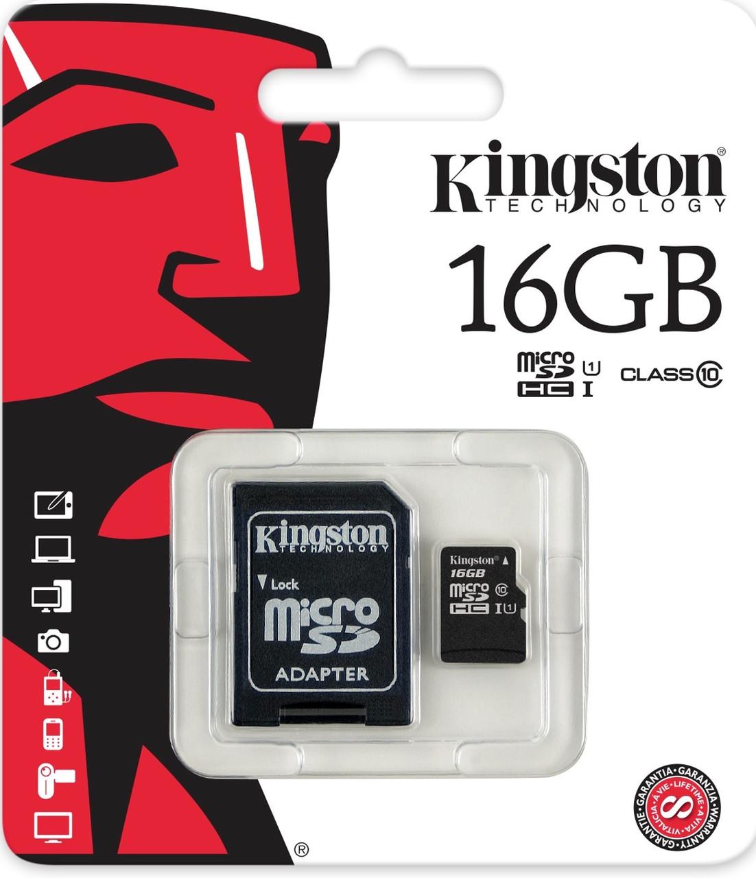Карта памяти microSDHC 16Gb KIngston (Class 10)