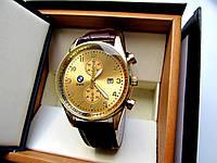 Часы наручные BMW золотые коричневый ремень , часы недорого