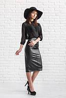 Юбка карандаш кожаная Эмма черная, женская одежда