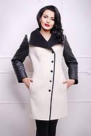 Приталенное комбинированное пальто из турецкого кашемира