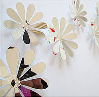 Объемные 3D цветы на стену зеркальные.