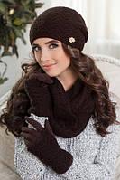Нежный женский комплект состоящий из шарфа-восьмерки шапки-колпака и перчаток-митенок