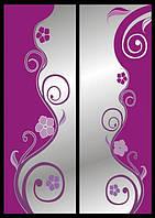 Рисунок на шкаф-купе цветы по бокам зеркала