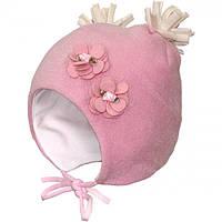 """Шапка для маленькой девочки теплая розового цвета """"Герда"""""""