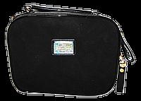 Качественная женская сумка из натурального замша и искусственной кожи черного цвета D&K