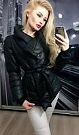 Женская куртка на синтепоне с поясом  3 цвета
